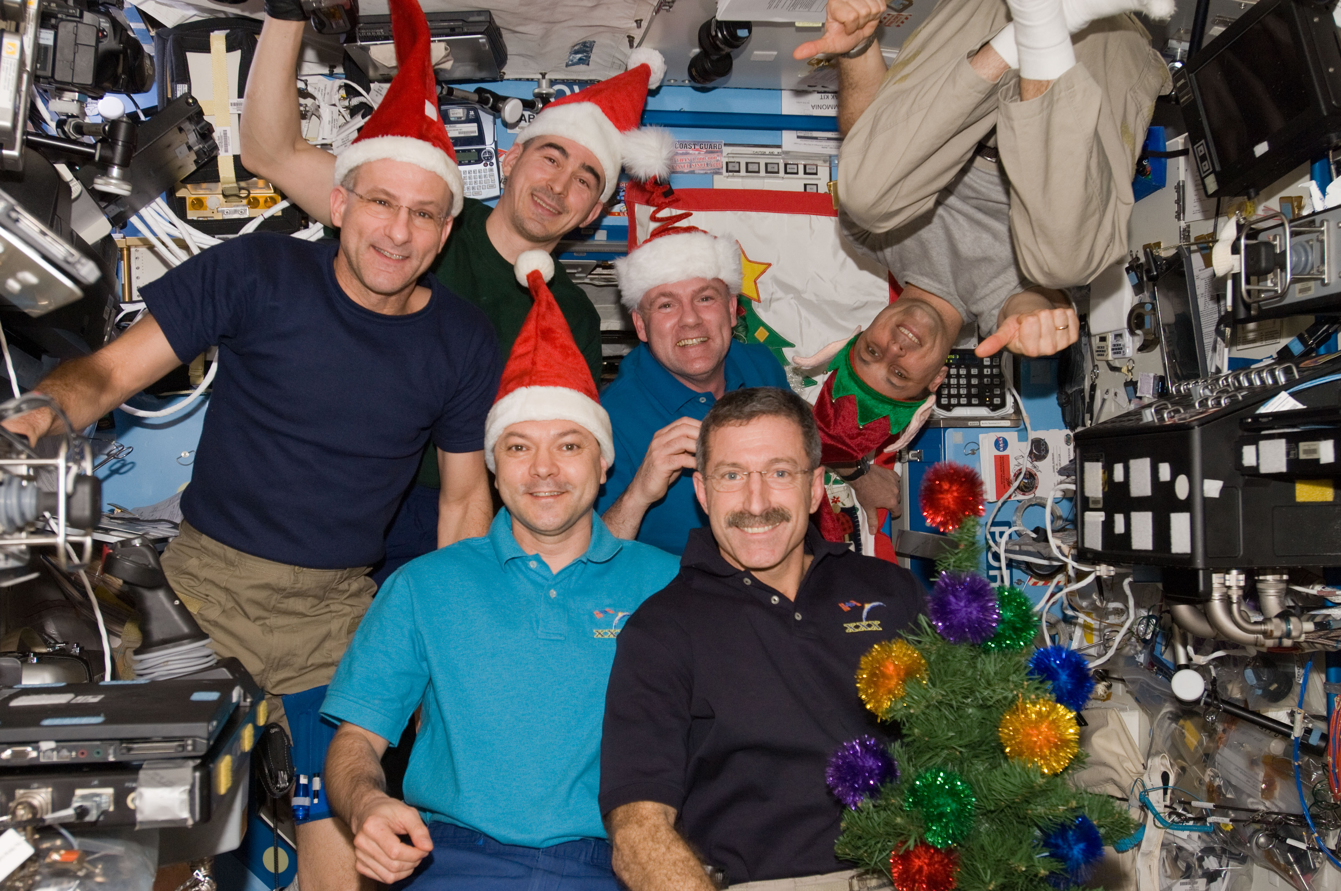 The ISS crews are quick to get into the Christmas spirit and enjoy the New Year celebrations. Image credit: NASA
