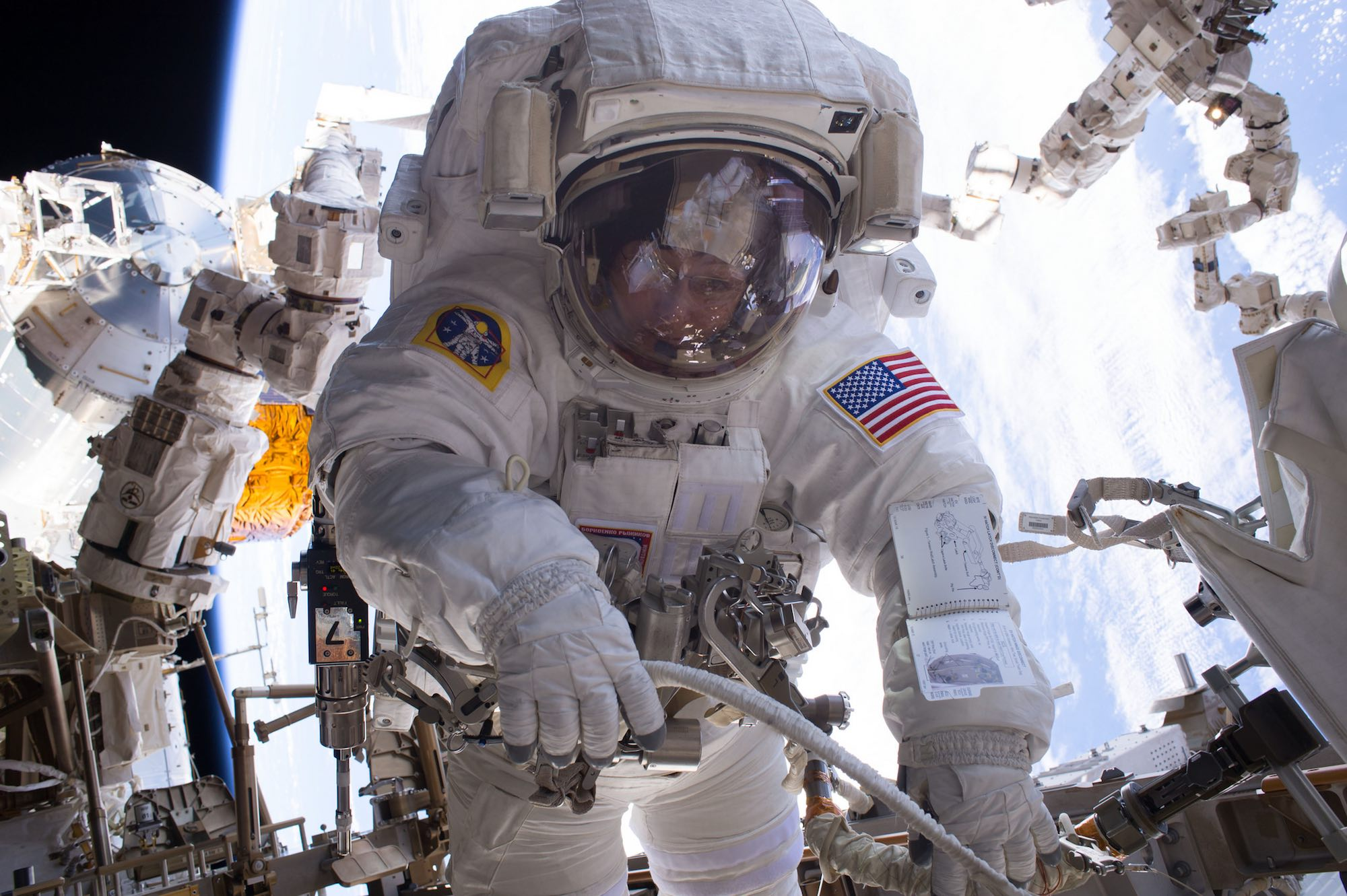 Peggy Whitson during a spacewalk. With a total of 8, she holds the women's record. Shortly, when she completes another spacewalk with Thomas Pesquet, she will have 9 to her credit. Image credit: NASA