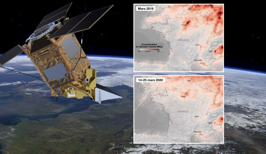 La France en confinement scrutée par Sentinel-5P