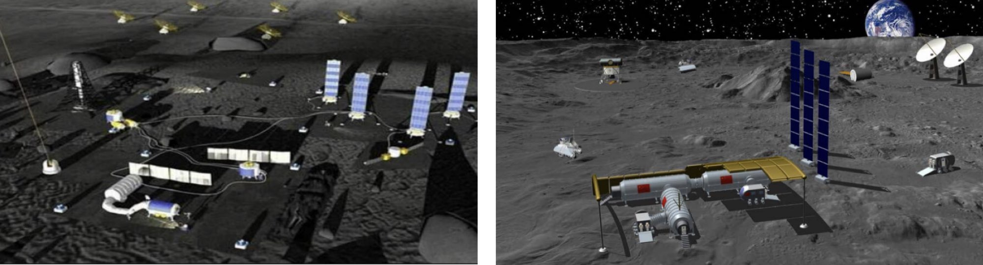 Illustrations du concept de l'International Lunar Research Station (ILRS). Crédit : CNSA/CLEP/CAST