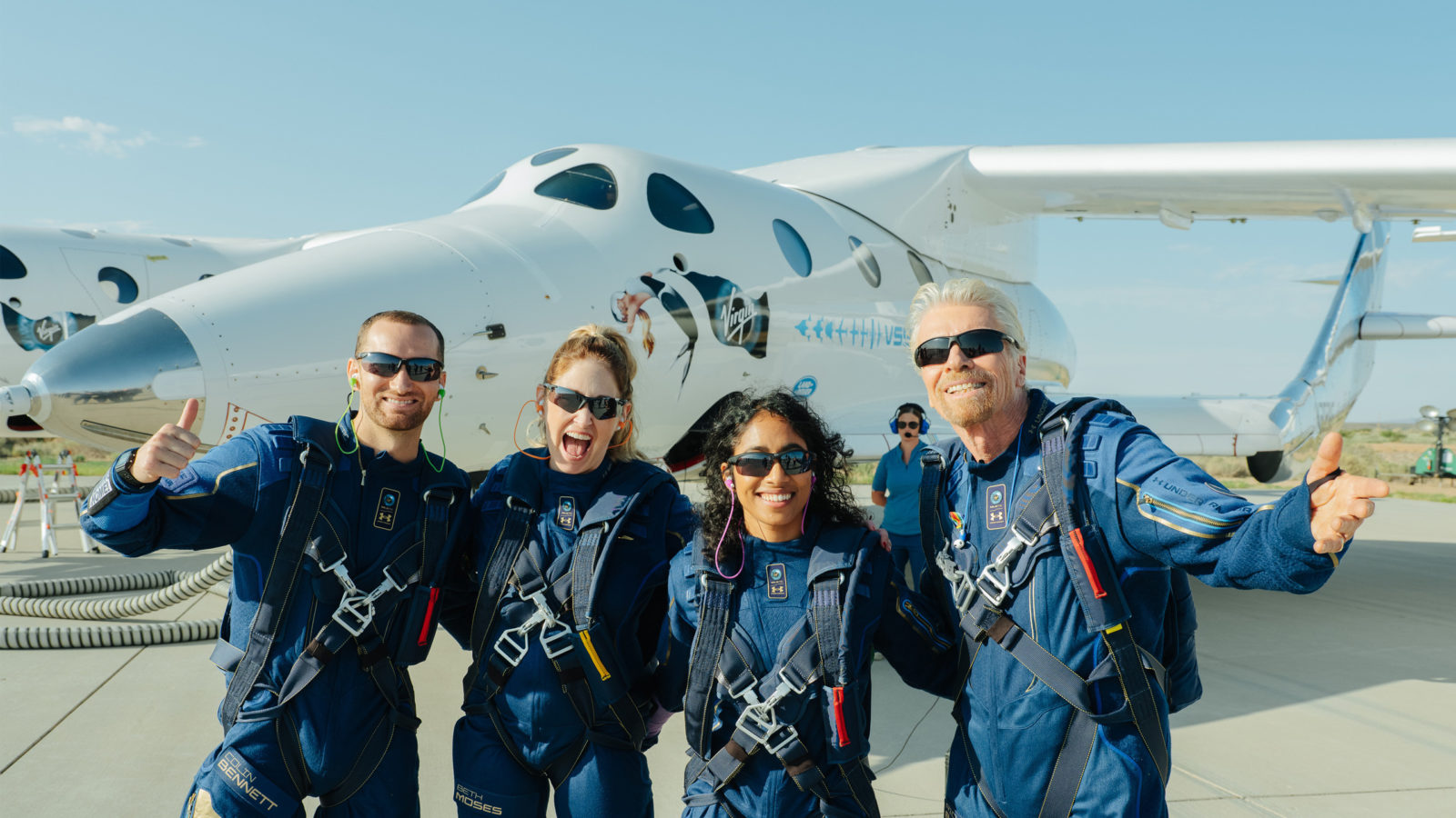 The first four space tourists after their suborbital flight on 11 July 2021 aboard the Space ShipTwo rocket-plane. From left to right: engineer Colin Bennett, instructor Beth Moses, company vice-president Sirisha Bandla, Richard Branson founder of Virgin Galactic Credit: Virgin Galactic